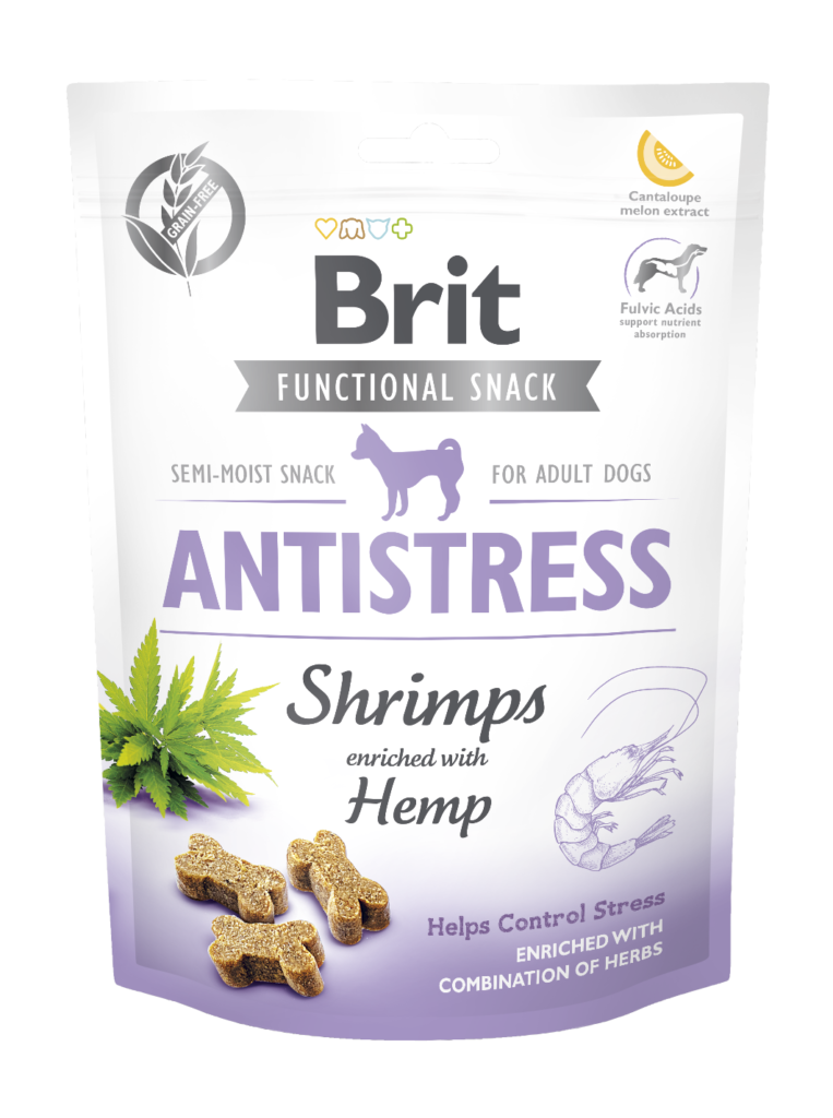 Brit Care Dog Functional Snack Antistress Shrimps 150 g – Krevety obohacené konopím + hloh, kořen kozlíku lékařského