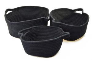 Sada 3 černých jutových košíků
