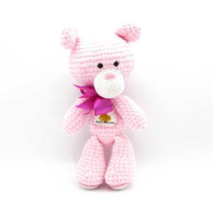 Háčkovaný medvídek Smilargan – růžový