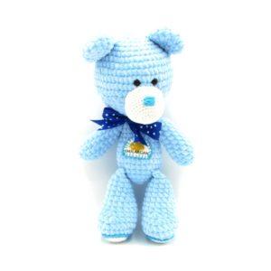 Háčkovaný medvídek Smilargan – modrý