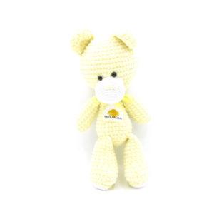 Háčkovaný medvídek Smilargan – žlutý