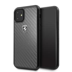 Ochranný kryt na iPhone 11 – Ferrari, Heritage Carbon Cover Black