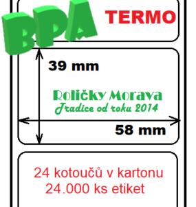 Termo etiketa 58/39/40
