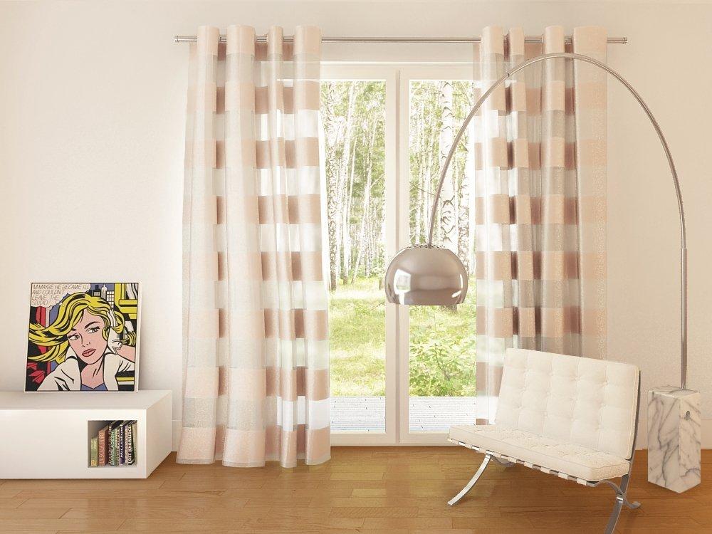 Dekorační vzorovaná záclona FLORENCE béžová 140×245 cm MyBestHome