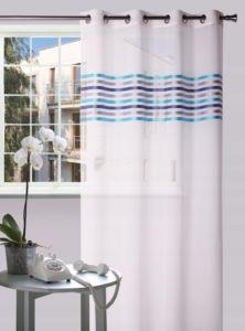 Dekorační vzorovaná záclona FRESH modrá/tyrkys/šedá 140×245 cm MyBestHome