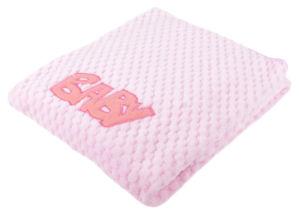 Dětská žakárová mikrovláknová deka s aplikací BABY růžová 80×90 cm Mybesthome
