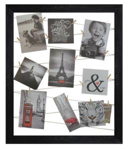Fotorámeček se šňůrkami na zavěšení až 10 fotografií 45×55 cm černá