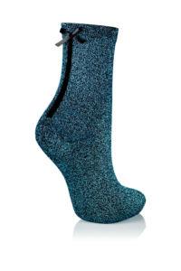 GLAMOUR SOCKS dámské ponožky s mašličkou s lurexem, modrá KNITTEX