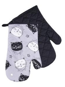 Kuchyňské bavlněné rukavice chňapky BLACK CAT, šedá, 100% bavlna 19×30 cm Essex