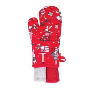 Kuchyňský dárkový set DEEROVE rukavice 18×30 cm/2 ks utěrky 35×70 cm HOME & YOU, 100% bavlna
