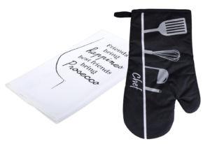 Kuchyňský DÁRKOVÝ set mikrovláknová utěrka/rukavice – chňapka CHEF/PROSECCO černá ESSEX