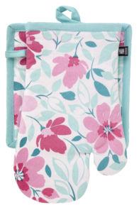 Kuchyňský SET rukavice/chňapka FIORITO, tyrkysová 19×30 cm/20X20 cm ESSEX, 100% bavlna