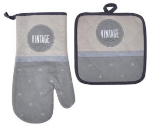 Kuchyňský SET rukavice/chňapka VINTAGE šedá, 18×30 cm/20X20 cm ESSEX, 100% bavlna