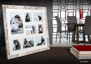 Multi fotorámeček na 8 fotografií bílá patina NARVIK 51×41 cm Styler