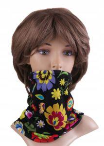 Multifunkční stylový šál – komín 105 – 31×26 cm, FOLK BLACK, Mybesthome