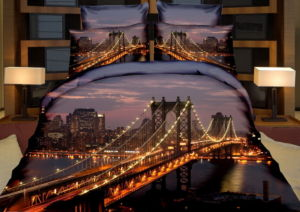 Povlečení MANHATTAN BRIDGE 3D set 3 ks, 140×200 cm, 2x povlak 70×80 cm MyBestHome