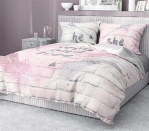 Povlečení MY HOME 18 100% bavlna růžová/bílá 1x 200×220 cm, 2x povlak 70×80 cm francouzské povlečení MyBestHome