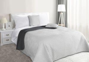Přehoz na postel CARMEN 220×240 cm stříbrná/tmavě šedá Mybesthome
