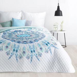Přehoz na postel LAPAČ SNŮ – MANDALA 200×220 cm modrá Mybesthome