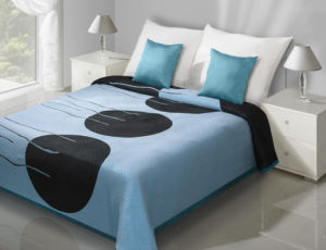 Přehoz na postel MARCEL 220×240 cm modrá/černá Mybesthome