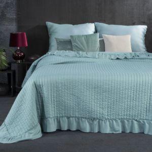 Přehoz na postel s volánky KRISTA 220×240 cm mátová Mybesthome