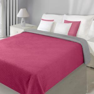 Přehoz na postel VELVET 220×240 cm stříbrná/tmavě růžová Mybesthome