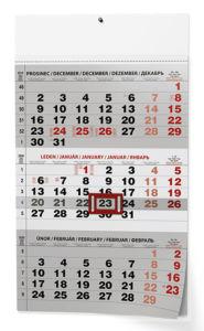 Kalendář nástěnný 2020 Tříměsíční černý A3