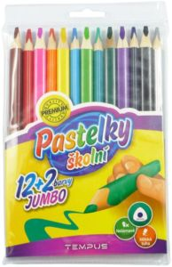 Pastelky Tempus trojhranné 12 + 2 barvy, JUMBO