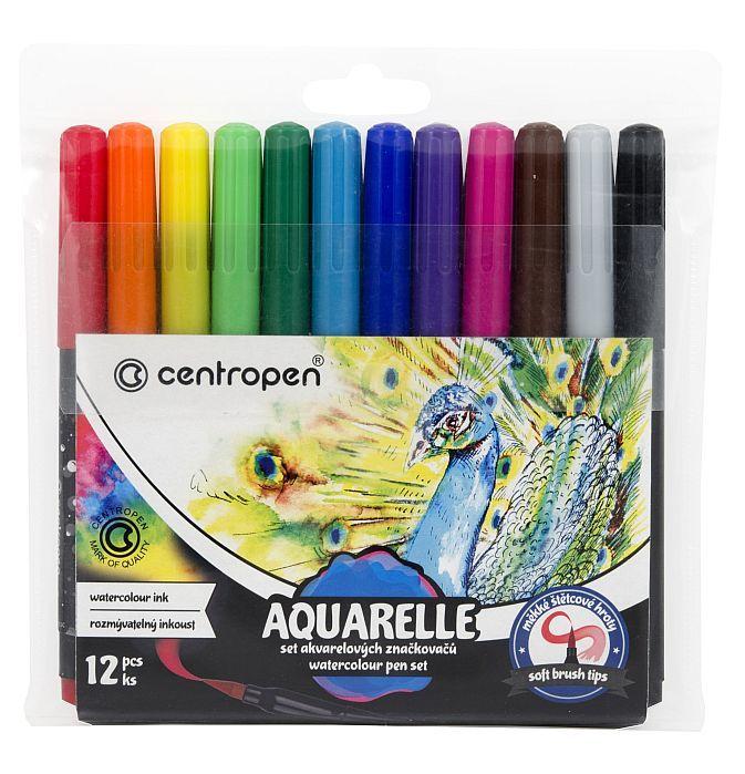 Akvarelové fixy Centropen AQUARELLE 12 barev