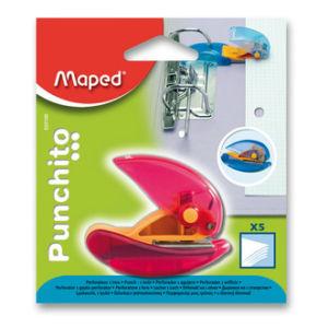 Děrovačka na jeden otvor Maped Punchito, na 5 listů, blistr, mix barev