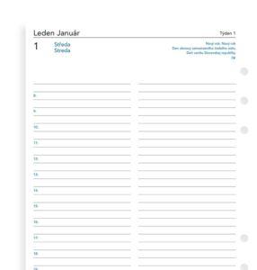 Náhradní náplň do Diáře Filofax 2020 – den na stránku velikost A5