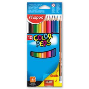 Pastelky Color´Peps 12 barev + ořezávátko a tužka s gumou ZDARMA