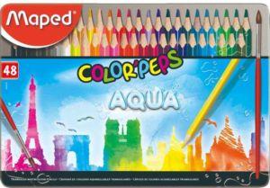 Pastelky Maped Color'Peps Metal Box Aqua – 48 barev + štětec