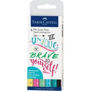 Popisovač Faber-Castell Pitt Artist Pen Hand Lettering – 6 kusů