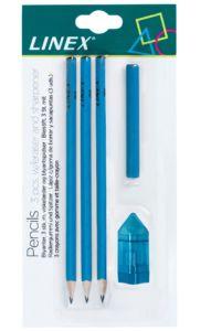 Sada 3 obyčejných tužek HB (č.2), pryže a ořezávátka Linex – modrá