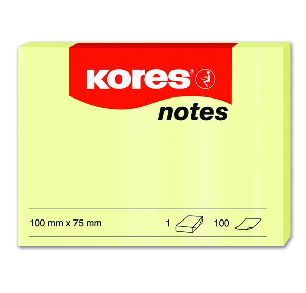 Samolepicí bločky Kores  žluté 100×75 / 100 lístků v bločku