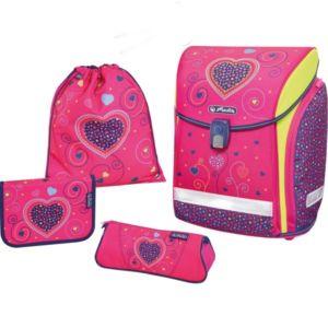 Školní aktovka pro prvnáčky Herlitz Midi – růžové srdce – set