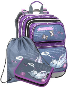 Školní batoh pro prvňáčky Bagmaster Kočička Galaxy 9 A – 3 dílný set