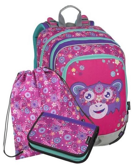 Školní batoh pro prvňáčky Bagmaster Opička Alfa 9 A – 3 dílný set