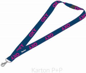 Šňůrka (klíčenka) na krk Karton P+P s karabinkou OXY BLUE LINE Pink