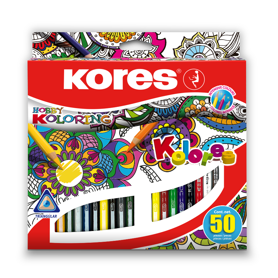 Trojhranné pastelky Kores – Mandalas 50 barev