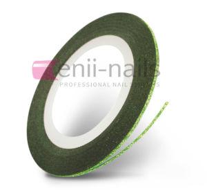 Nail art glitrová páska – zelená, 1 mm