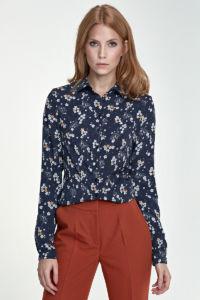 Dámská košile B70 květinová – tmavě modrá