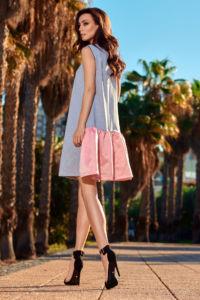 Dámské šaty L247 šedo – růžová