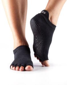 Toesox Halftoe Low rise Grip protišmykové ponožky čierne