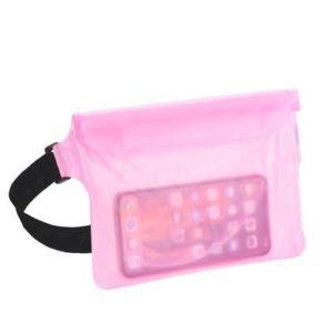 Voděodolné pouzdro na telefon nebo doklady kolem pasu – ledvinka – růžové