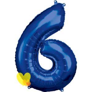Číslo 6 DEKORAČNÍ BALONEK velký modrý