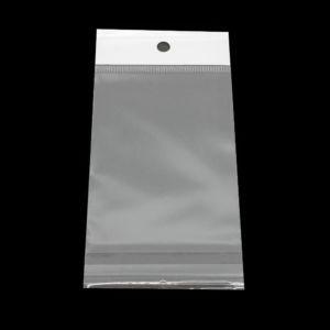 Celofánové sáčky s lepící klopou a otvorem na zavěšení – transparentní – 7 x 5 cm – 10 ks