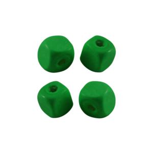 Dřevěné korálky – kostky – zelené – 10 x 10 x 10 mm – 50 g