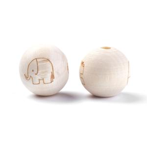 Dřevěný surový korálek – slon – ∅ 20 mm – 1 ks
